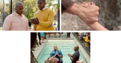 Un ancià parlant amb un germà que té por de dedicar-se aJehovà ibatejar-se; un home de temps bíblics allargant la mà dreta per ajudar el seu fill; un home batejant-se