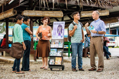 A couple does public witnessing in a foreign country