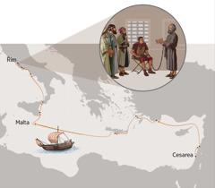 Pavel připoutaný k vojákovi mluví o dobré zprávě s židovskými předními muži; Pavlova cesta z Cesareje do Říma