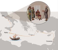 Lancima privezan za stražara, Pavao svjedoči vodećim Židovima u Rimu; karta koja prikazuje Pavlovo putovanje od Cezareje do Rima