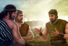 Noé predicando a dos hombres