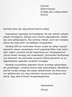Yateqasiñatak carta
