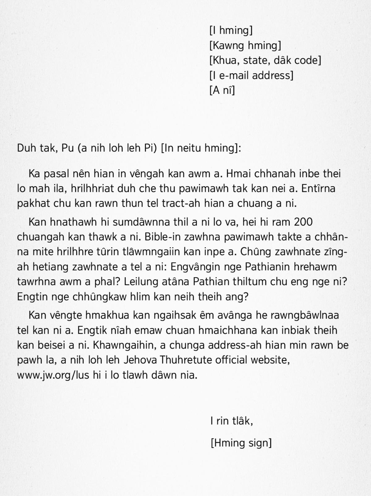 Lehkha Thawn Ṭha Ziak Rawh—Lehkha Thawn Ziah Dân Tûr