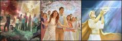 Anjos protegendo o povo de Jeová durante a grande tribulação; pessoas no Paraíso; Jesus retirando sua coroa e entregando o Reino a Jeová Deus