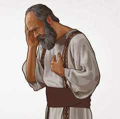 The apostle Paul holds his head