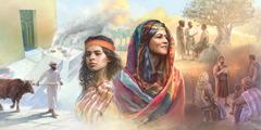 U krupnom planu Agara i Sara, a u pozadini prinošenje žrtava u hramu; hrišćani propovedaju; hrišćani slušaju dok se čita iz svitka