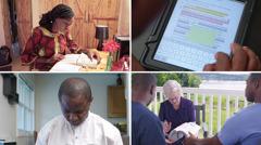 Seorang saudari sedang mempelajari Alkitab dengan sungguh-sungguh; seorang saudara menandai ayat Alkitab dengan warna; seorang saudari menceritakan isi catatan yang ada di Alkitabnya kepada dua pria; seorang saudara berdoa