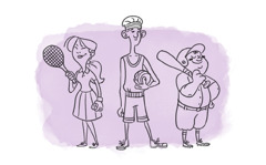 A girl holds a tennis racket, a boy holds a basketball, and another boy holds a baseball bat