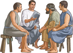 Titus meets with some brothers in an early Christian congregation