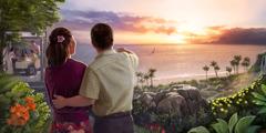 Một cặp vợ chồng ngắm hoàng hôn và những người khác vui vẻ cùng nhau dùng bữa trong địa đàng