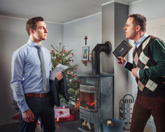 Um jovem está saindo para a reunião; seu pai não cristão fica com raiva e discute com ele