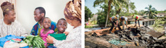 Um casal providencia roupa e comida para um pai com seus dois filhos; irmãos consertando um telhado depois de um desastre natural