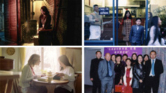 Collage: Scenes from the video 'Jehovah Strengthens Us to Carry Our Load,' showing Grace Li's progress. 1. Grace crying in an alley. 2. A sister studying with Grace. 3. Grace and her children leaving their restaurant to go to a meeting. 4. Grace with nine members of her family at a Kingdom Hall.