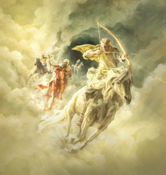 Jesus rides a white horse and has a bow in his hand; he is followed by a fiery-colored horse, a black horse, and a pale horse