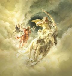 Isus jaše na bijelom konju i drži luk u ruci, za njim jašu jahači na crvenom, crnom i blijedom konju