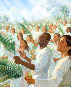 A great crowd dressed in white robes with palm branches in their hands