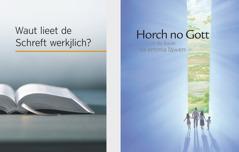 """Daut Buak """"Waut lieet de Schreft werkjlich?"""" un daut Heft """"Horch no Gott un du kaust fa emma läwen"""""""