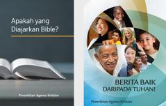 Buku 'Apakah yang Diajarkan Bible?' dan brosur 'Berita Baik daripada Tuhan!'