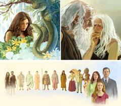 Tres imágenes relacionadas: 1. Satanás hablando con Eva mediante una serpiente; 2. Adán y Eva envejecidos y débiles; 3. Ungrupo de personas de distintas épocas, razas y culturas, desde Adán y Eva hasta nuestros días