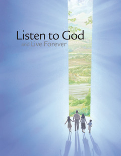 The cover of the brochure 'Listen to God and Live Forever.'