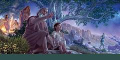 Ábraham peikar upp á stjørnuklára himmalin og lærir Ísak um Jehova. Sára stendur aftanfyri og hyggur at teimum.