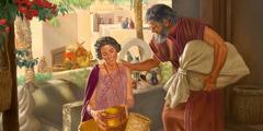 Ábram og Sárai gera seg klár at fara úr Ur. Ábraham ber ein stóran posa, og hann rósar Sárai meðan hon pakkar eina kurv.