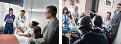 Serie de imágenes: 1) una hermana en una cama de hospital explicándole al doctor que no aceptará sangre; su esposo y su hija la observan; 2) policías armados entrando a la fuerza en una casa, donde un grupito de Testigos están reunidos
