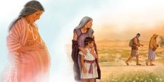 Sara embarazada de Isaac; Sara e Isaac mirando cómo Agar e Ismael se van al desierto