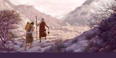 അബ്രാഹാമും യിസ്ഹാക്കും മോരിയ ദേശത്തേക്കു നടക്കുന്നു.