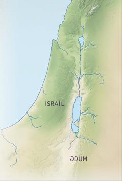 Vəd olunmuş diyarın xəritəsində İsrailin yaşıl, münbit torpaqları və Ədumun qəhvəyi, quru ərazisi göstərilir.