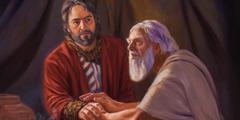 Jákup er í klæðunum hjá Esau og hevur geitarskinn um háls og arm, og Ísakur nemur við armin hjá honum.
