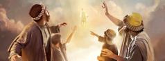 Gesù che ascende al cielo mentre i suoi discepoli guardano meravigliati.