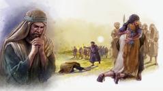 Şikil: Aqûb qewatê dide xebatê ku tevî Esaw li hev bê. 1. Aqûb dua dike. 2. Aqûb berbi Esaw ta dibe. 3. Esaw Aqûb hemêz dike.