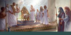 Si Moises saka si Aaron na nasa atubangan ni Faraon saka kan mga miyembro kan palasyo sa Ehipto.