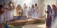 Móses og Áron standa framman fyri Farao og øðrum í egyptiska kongshúsinum.
