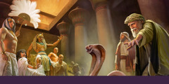 Moses and Aaron performing miracle in front of Pharaoh and his people. Aaron stake turned to snake.