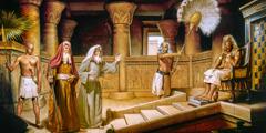 Moses ac Aaron yn dod o flaen y Pharo, sy'n eistedd ar ei orsedd.