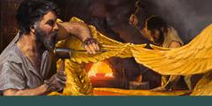 เบซาเลลกับโอโฮลีอับแกะสลักสิ่งของสำหรับเต็นท์ศักดิ์สิทธิ์ที่เป็นทองคำ ผู้ชายคนหนึ่งแกะสลักรายละเอียดปีกเครูบ ส่วนอีกคนหนึ่งตีทองคำให้เป็นแผ่น