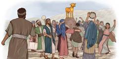 The Israelites dancing around the golden calf.