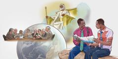Kolaž slik: 1. Oslavljeni Jezus Kristus vlada nad zemljo. 2. Člani Vodstvenega organa se sestanejo, da bi poskrbeli za duhovno hrano. 3. Brat oznanjuje dobro novico nekemu moškemu.