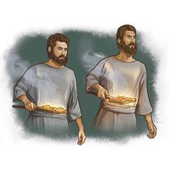 Nadab da Abihu suna rike da wuta da turaren konawa a ciki.