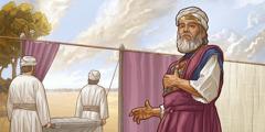 Babban firist Haruna yana tsaye a mazauni. 'Yan'uwan Haruna biyu sun dauki gawawwakin Nadab da Abihu sun wuce labule suna fitar da su daga sansani.