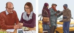 Billeder: 1.Et par der beder efter at de har forberedt sig til forkyndelsen. 2.Det samme par forkynder for en taxichauffør ved hjælp af deres tablet.
