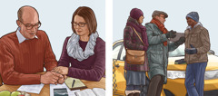 Kolaž: 1.Bračni par se moli pre službe propovedanja. 2.Isti bračni par koristeći tablet svedoči taksisti.
