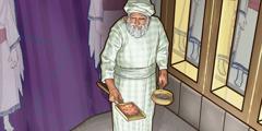 Ypperstepræsten der går ind i Det Allerhelligste med røgelse og glødende kul.