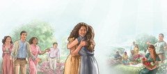 Imágenes de personas felices en el Paraíso. 1. Una hermana da la bienvenida a una mujer resucitada. 2. Personas disfrutando de una Tierra limpia, en paz y con abundante alimento.