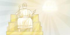 Îsa ji textê xweyî ezmanî li erdê dinihêre û pişt wîva textê Yehowa ye ku şewq dide.