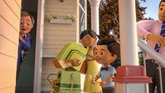 En scene fra videoen 'Bli Jehovas venn: Forkynn på et annet språk'. Jakob forestiller seg at en oversetterrobot hjelper ham med å forkynne for en dame som ikke snakker hans språk.
