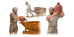 Kollasj: Levitter utfører forskjellige plikter. 1. En levitt heller vann i kobberkaret. 2. En levitt trekker en vogn som er fylt med leirkrukker. 3. En levitt bærer en leirkrukke på skulderen.