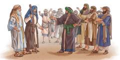 Qorax tevî gelek mêrên Îsraêlî miqabilî Mûsa û Harûn derketin.